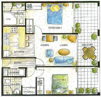 Two Bedroom Apartment Plan - Waldorf Apartments Randwick