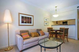 Lounge Room - Kent Street Self-Serviced One Bedroom Apartment