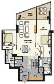 2 Bedroom Apartment Floor Plan - Meriton World Tower Apartments Hotel