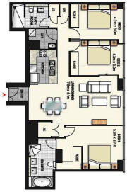 3 Bedroom Apartment Floor Plan - Meriton World Tower Apartments Hotel